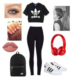 """""""I Represent the Adidas Kid"""" by lynnlyoncollextion on Polyvore featuring adidas, Beats by Dr. Dre, Herschel Supply Co. and Lime Crime"""