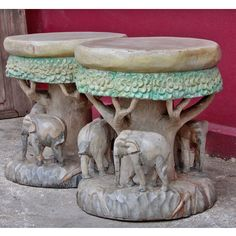 Pair of Thai Teak Stools Carved with Elephants and Trees
