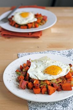 Sweet Potato and Leek Hash with Fried Eggs - In Sonnet's Kitchen