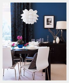 Estilo Home: Blue Accent Walls ~like this dining room a lot!