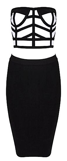 Karen 2-Piece Bandage Dress from www.RawGlitter.com  http://www.rawglitter.com/collections/new-arrivals/products/karen-two-piece-bustier-bandage-dress-black-white