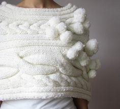winter wedding circus carnival ivory white knit cape capelet shrug etsy handmade vintage - fashionable knitting