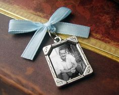 Something Blue Wedding Day Memorial Photo Charm.. Add it to your bouquet