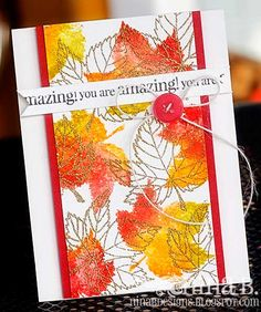 Emboss outline stamp with gold/silver and coloured silhouette stamp all around.