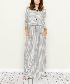 Love this éloges | Gray Stripe Blouson Maxi Dress by éloges on #zulily! #zulilyfinds