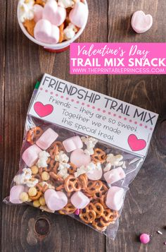 Celebrate friendship with a trail mix that is perfect for classroom parties. With just a few simple ingredients, it's the perfect Valentine's Day snack. Valentine Theme, Valentines Day Party, Valentine Day Crafts, Arts And Crafts For Adults, Easy Arts And Crafts, Crafts For Kids, Diy Crafts, Arts And Crafts Interiors, Arts And Crafts Furniture
