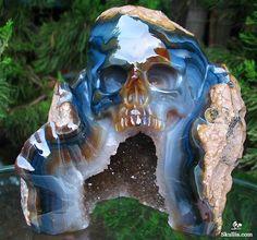 Agate Geode Crystal Skull