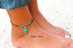 Tribal Ankle BraceletTurquoise Cross Native Made AnkletBohemian Anklet TurquoiseNative American AnkletBoho Ankle BraceletSouthwest Blue