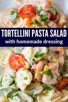 Serve up this tortellini pasta salad. Fresh cheese stuffed pasta, homemade sauce, and crisp veggies in every bite. The ultimate side dish recipe for parties, potluck events, or a weeknight meal. #tortellini #tricolor #salad #homemadesauce easy #quick #sidedish #sides #potluck #party #summer #light Quick Pasta Recipes, Pork Recipes For Dinner, Easy Salad Recipes, Side Dish Recipes, Lunch Recipes, Family Recipes, Pasta Salad With Tortellini, Fresh Pasta, Homemade Sauce