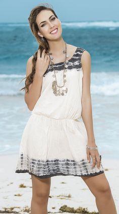 Ivory and Grey Tie Dye Sundress http://divashq.com/ivory-and-grey-tie-dye-sundress #sundresses #tiedye #dresses #summerdresses #tiedyedresses
