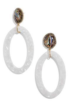 BaubleBar Trisha Drusy & Oval Drop Earrings