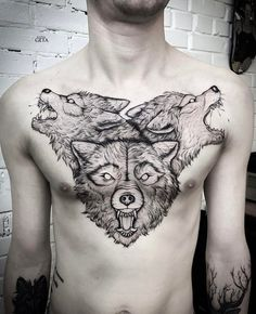 Wolf Heads on Chest by katyageta