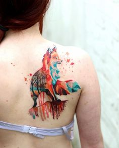 Fox tattoo on back shoulder by Martians Snioka