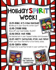 Do you do a Holiday Spirit Week? We organized this last year, but would love some new ideas!