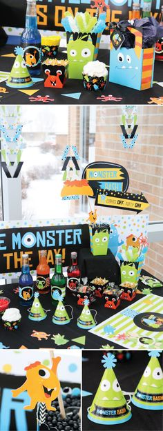 Too Cute to Scare - Monster Party Ideas Baby Boy First Birthday, Boy Birthday Parties, Little Monster Party, Monster Baby Showers, Monster Decorations, Monster Photos, Big Dot Of Happiness, Photo Booths, Baby Party