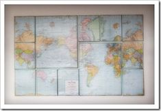 DIY large map on canvas. Would be awesome for guest room and guest can pin where they are from