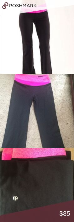 LULU LEMON PANTS-LONG Worn maybe 3 times, too small for me. They are so cute and fit to your body shape!!! Price is a little negotiable however would rather keep than sell for super low lululemon athletica Pants Boot Cut & Flare