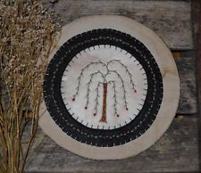 Primitive Willow Tree Wool Felt Penny Rug ~ Bittersweet & Berries Candle Mat