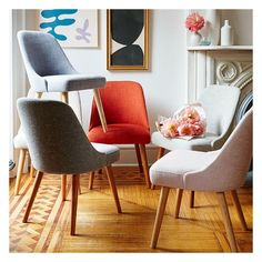 West Elm Mid-Century Upholstered Dining Chair, Platinum Linen Weave -... ($199) ❤ liked on Polyvore featuring home, furniture, chairs, dining chairs, upholstered kitchen chairs, mid century dining chairs, woven dining chairs, midcentury modern dining chairs and midcentury modern chair