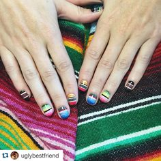 Alexa won the nail battle today. Hands down the best mani of the day maybe even the week. #Repost @uglybestfriend with @repostapp.  legit the best nails i've ever gotten. bow down to queen @dallasbeauty_alexa at @dallasbeautylounge (also the funniest and greatest humans ever)  #dallasbeautylounge #gelish #mexicanblanket by dallasbeautylounge