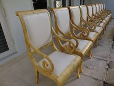 Set Of Ten Designer Goatskin/Parchment Dining Room Chairs All Arms. by FLORIDAMODERN on Etsy