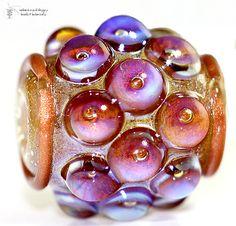 Glass lampwork bead Golden Kalypso Barrel handmade by radiantmind, $19.00