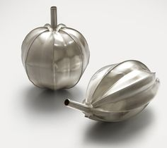 """Becoming Spherical I"" and ""Becoming Spherical II"" by Lucian Taylor, 2010 fine silver"