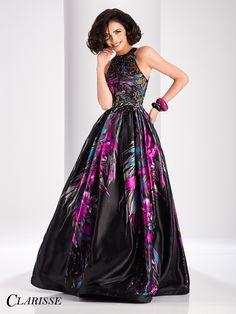 Clarisse unique Black Floral Ball Gown prom dress 3179.| Promgirl.net