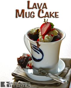 Nutella Lava Mug Cake-I was skeptical when I saw this recipe. Man, I was sold in less than 5 minutes. The cake turned out so wonderfully—sinfully scrumptious with warm chocolate oozing out when I dug in with a spoon, mmm! Mug Recipes, Nutella Recipes, Cake Recipes, No Bake Desserts, Just Desserts, Dessert Recipes, Nutella Lava Cake, South African Recipes, Semi Sweet Chocolate Chips