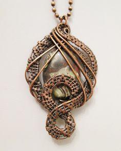 Oxidized Copper Wire Woven & Peacock Jasper Pendant                                                                                                                                                                                 More