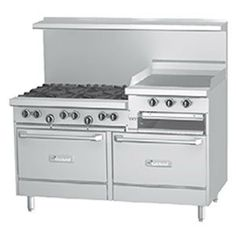 """Liquid Propane Garland G60-6R24RR 6 Burner Gas Range with Two Standard Ovens and 24"""" Raised Griddle/Broiler"""