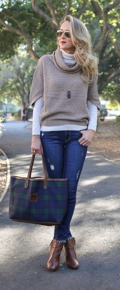 distressed skinny jeans, chunky knit cowl neck poncho, blackwatch plaid tote + studded cognac brown booties  |  http://www.theclassycubicle.com/2014/11/casual-friday-distressed-denim.html