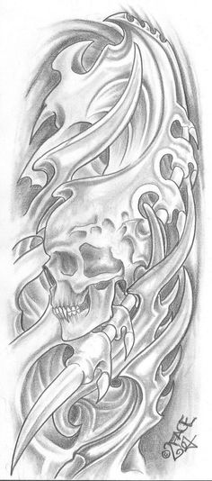 Bio Mecanic Skull Drawings | bio mechanical tattoo for chest and arm