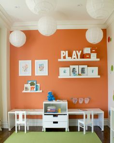 Desk Area in a Playful, Colorful Playroom