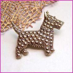1928 Jewelry Vintage Scottie Dog Pin Gold Rhinestone Brooch