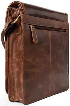 Small leather crossbody bag for tablet. Best Leather Backpack, Brown Leather Messenger Bag, Leather Laptop Bag, Leather Saddle Bags, Leather Hats, Messenger Bag Men, Leather Briefcase, Leather Crossbody Bag, Leather Men