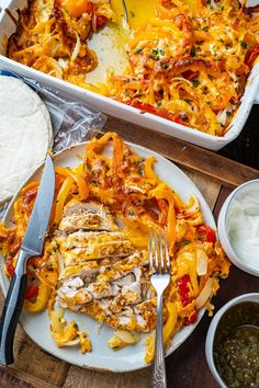 Chicken Fajita Casserole Chicken Fajita Casserole, Chicken Fajitas, Dinner Is Served, Paella, Onions, Poultry, Mexican Food Recipes, Ethnic Recipes, Food And Drink