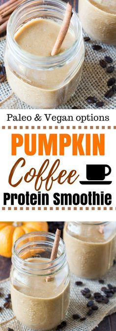 An easy way to enjoy fall, this pumpkin coffee smoothie is made with frozen canned pumpkin, sweetened naturally, and protein to keep you full! #vegan #paleo #primal  via @hungryhobby