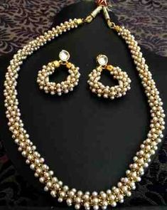 Beautiful chandni pearls woven in golden metal indian pearl necklace set