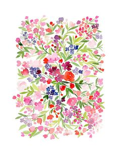 "Handmade Watercolor- Field of Spring Flowers- 8"" x 10"" Wall Art Watercolor Illustration Print"