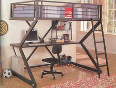 Loft Bed - Full Size Workstation Loft Bunk Bed in Matte Black - Coaster