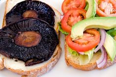 portobello mushroom sandwich with added feta cheese, white balsamic ...