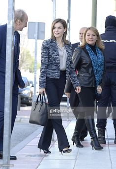 Queen Letizia of Spain (C) arrives to attend a meeting with UNICEF Spain on March 16, 2015 in Madrid, Spain.