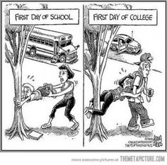 First day of school vs. first day of college.