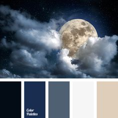 Cold, dark group of black, Prussian blue, and blue-gray is balanced with pastel pale cream and beige.