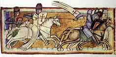Knights Templar see off a foe in battle, a 12th-century depiction - Super long (side-laced?) surcote.  Looks like some embellishment on the bottom.