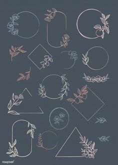 premium vector of Botanical frame element vector collection 846060 Botanical frame element vector collection Logo Floral, Floral Banners, Bullet Journal Art, Bullet Journal Inspiration, Doodles, Round Logo, Logo Design, Graphic Design, Chalkboard Art