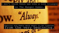#Hunger Games. I agree. But the author tried REALLY hard to make it a love triangle. I swear she was copying Twilight.