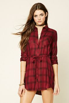 Style Deals - A woven plaid shirt dress with a removable sash belt, a buttoned front, a basic collar, a chest patch pocket, and button-cuff long sleeves.