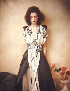 JC de Castelbajac silk/satin dress, about £1,540, and hand-painted canvas belt, from about £238